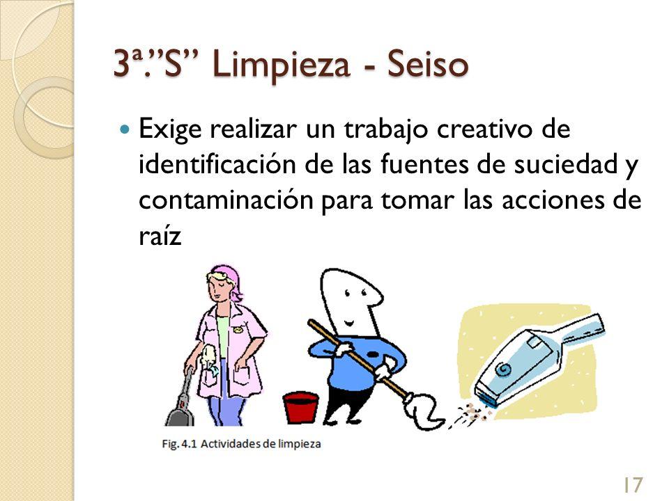 3ª.S Limpieza - Seiso Exige realizar un trabajo creativo de identificación de las fuentes de suciedad y contaminación para tomar las acciones de raíz