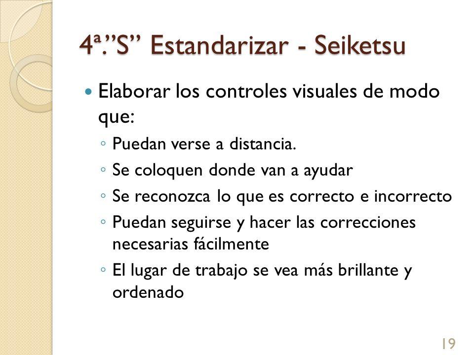 4ª.S Estandarizar - Seiketsu Elaborar los controles visuales de modo que: Puedan verse a distancia. Se coloquen donde van a ayudar Se reconozca lo que