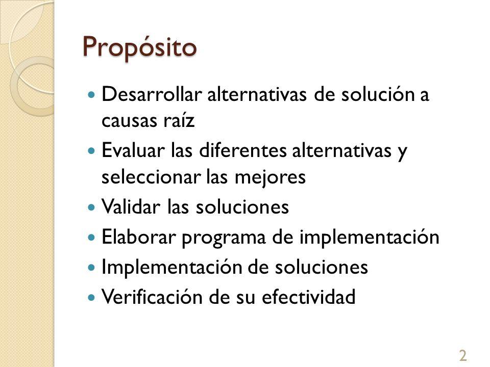 Propósito Desarrollar alternativas de solución a causas raíz Evaluar las diferentes alternativas y seleccionar las mejores Validar las soluciones Elab