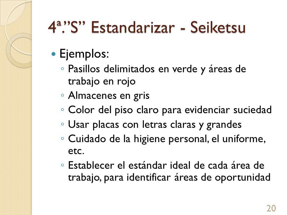 4ª.S Estandarizar - Seiketsu Ejemplos: Pasillos delimitados en verde y áreas de trabajo en rojo Almacenes en gris Color del piso claro para evidenciar