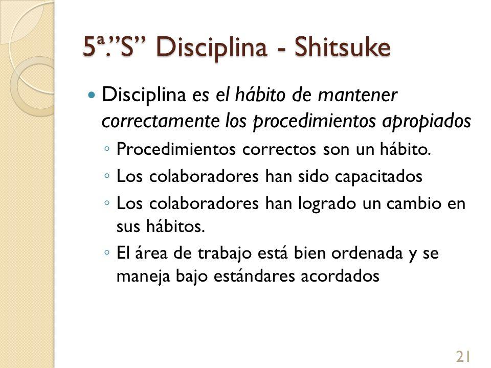 5ª.S Disciplina - Shitsuke Ejemplos Limpieza diaria de 5 minutos como una rutina Evaluar resultados de auditorias de 5Ss Tratar de no ensuciar o limpiar frecuente.