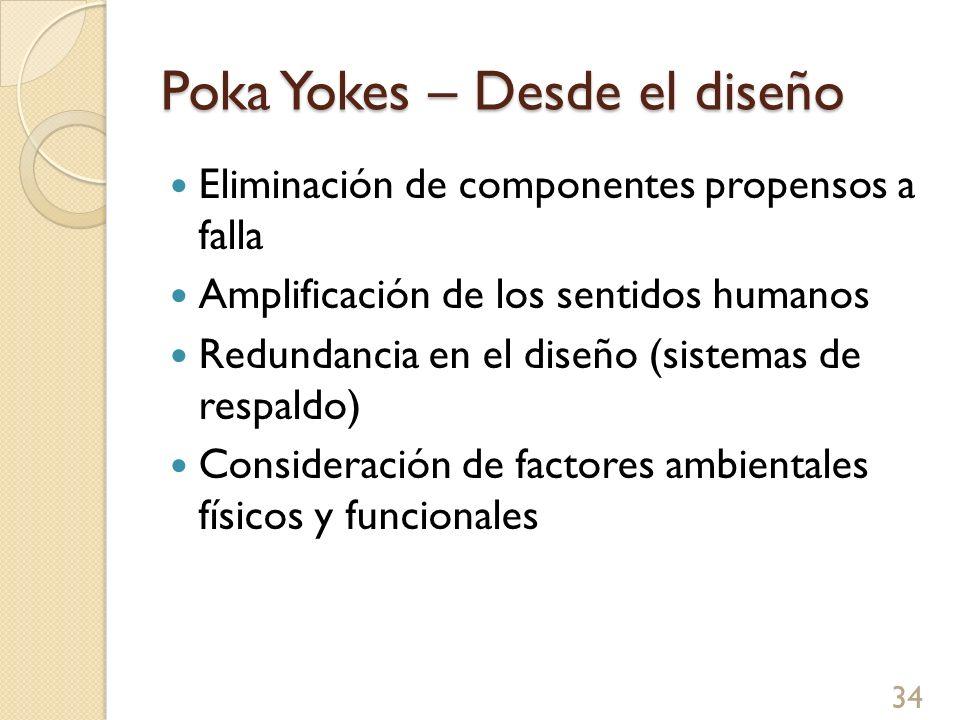 Poka Yokes – Desde el diseño Eliminación de componentes propensos a falla Amplificación de los sentidos humanos Redundancia en el diseño (sistemas de