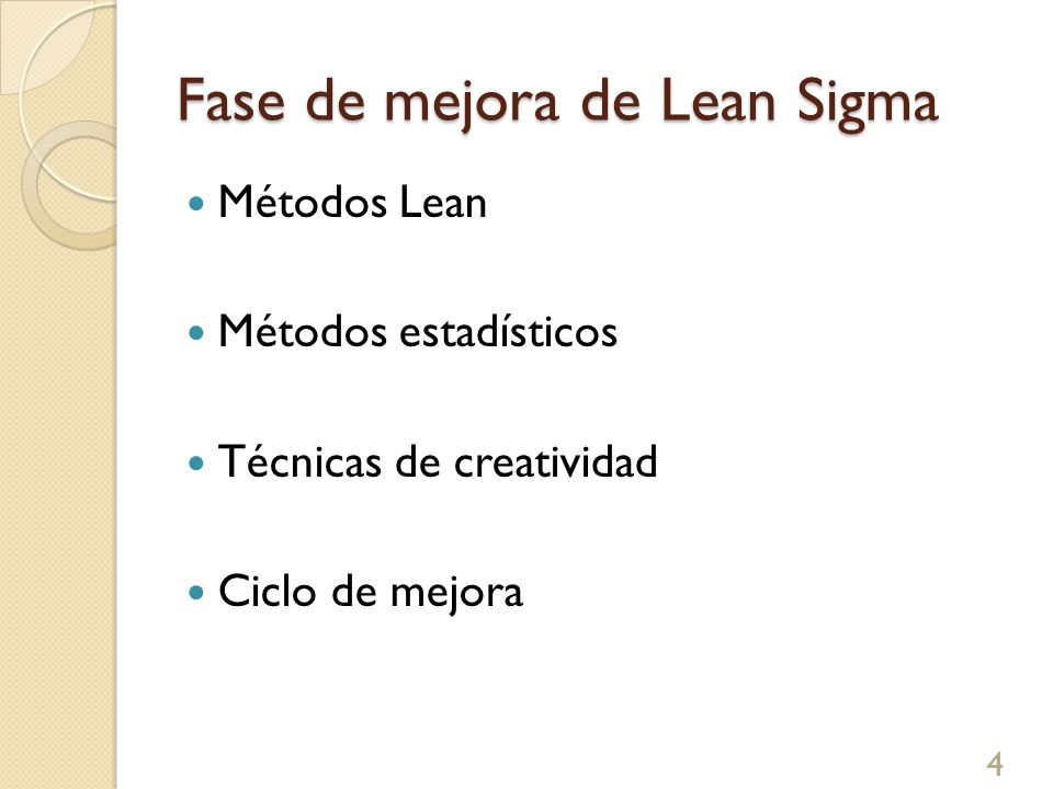 Fase de mejora de Lean Sigma Métodos Lean Métodos estadísticos Técnicas de creatividad Ciclo de mejora 4