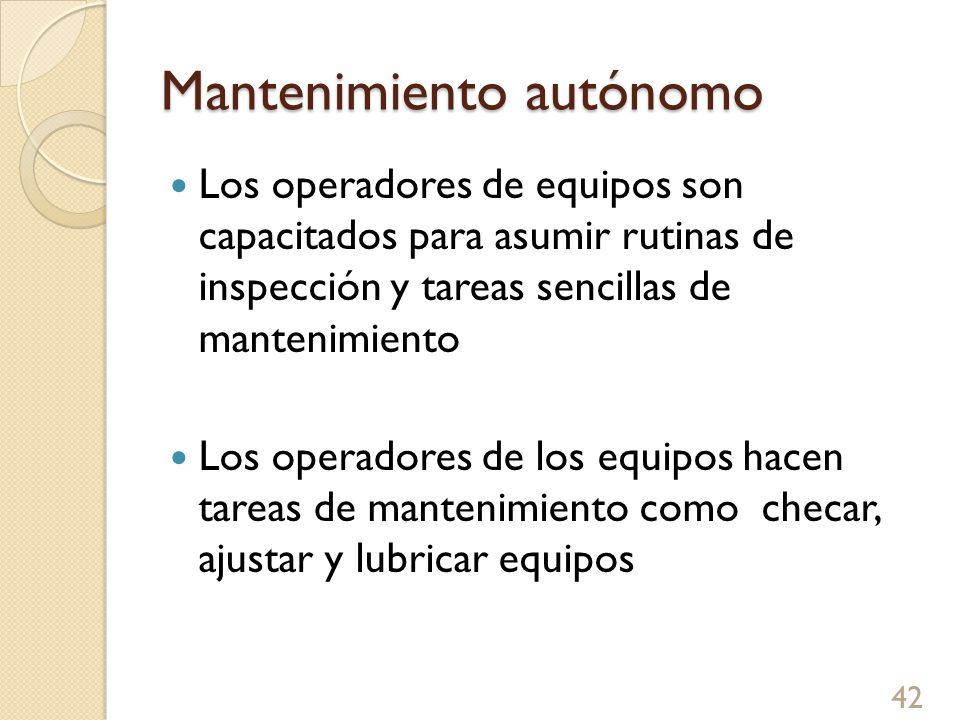 Mantenimiento autónomo Los operadores de equipos son capacitados para asumir rutinas de inspección y tareas sencillas de mantenimiento Los operadores