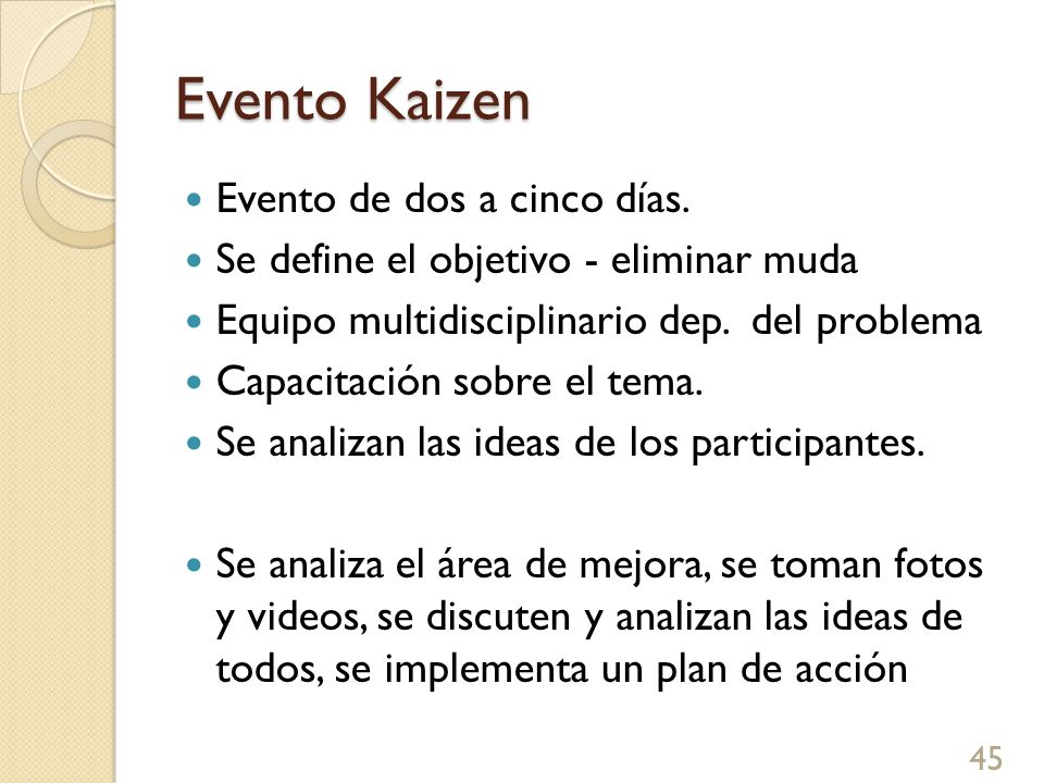 Evento Kaizen 45 Evento de dos a cinco días. Se define el objetivo - eliminar muda Equipo multidisciplinario dep. del problema Capacitación sobre el t