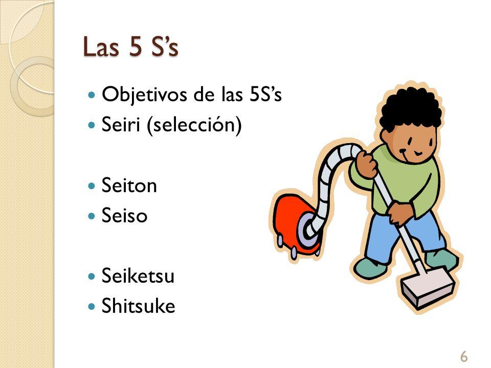 Las 5 Ss Objetivos de las 5Ss Seiri (selección) Seiton Seiso Seiketsu Shitsuke 6