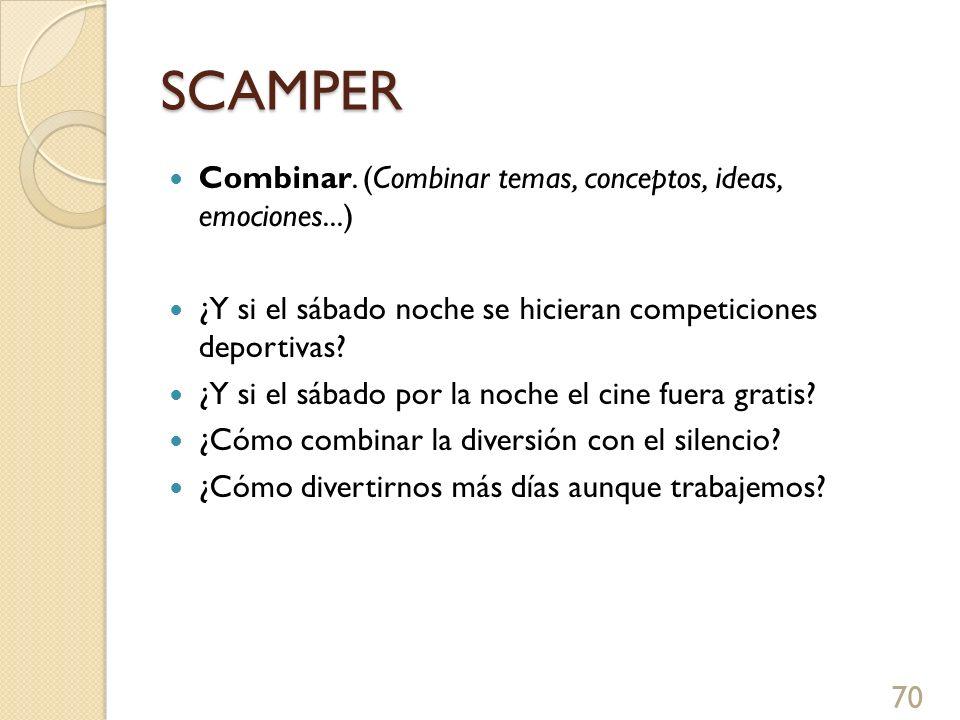 SCAMPER Combinar. (Combinar temas, conceptos, ideas, emociones...) ¿Y si el sábado noche se hicieran competiciones deportivas? ¿Y si el sábado por la