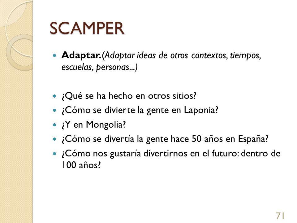 SCAMPER Adaptar.(Adaptar ideas de otros contextos, tiempos, escuelas, personas...) ¿Qué se ha hecho en otros sitios? ¿Cómo se divierte la gente en Lap