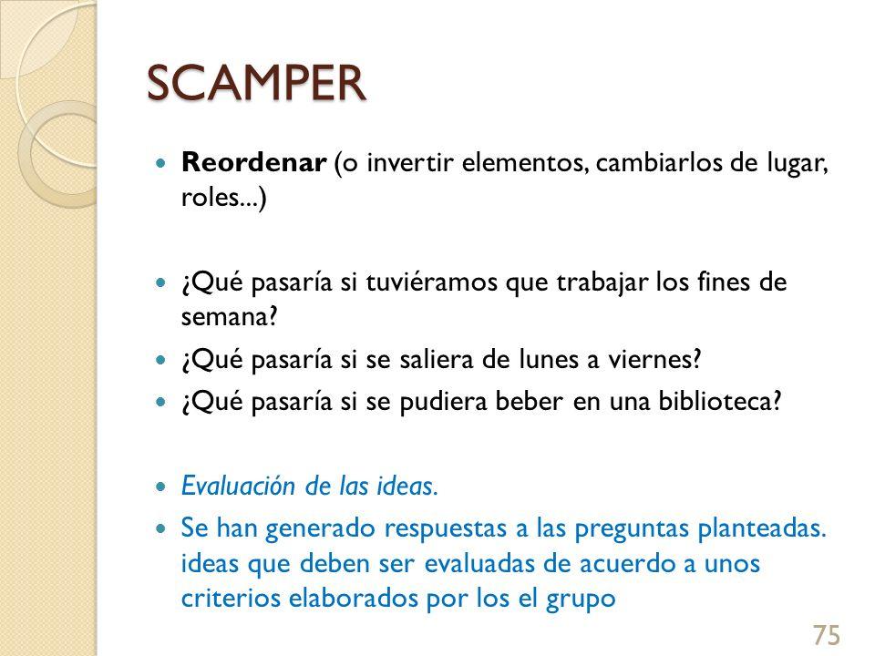 SCAMPER Reordenar (o invertir elementos, cambiarlos de lugar, roles...) ¿Qué pasaría si tuviéramos que trabajar los fines de semana? ¿Qué pasaría si s
