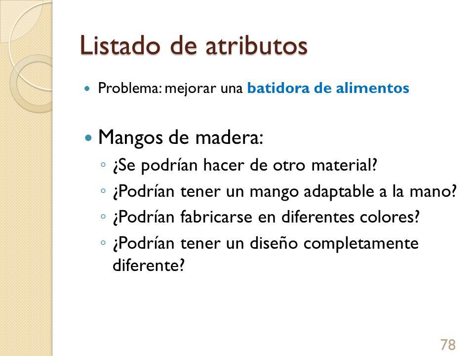 Listado de atributos Problema: mejorar una batidora de alimentos Mangos de madera: ¿Se podrían hacer de otro material? ¿Podrían tener un mango adaptab