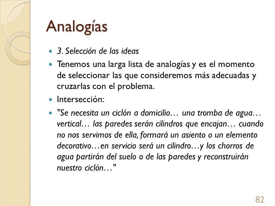 Analogías 3. Selección de las ideas Tenemos una larga lista de analogías y es el momento de seleccionar las que consideremos más adecuadas y cruzarlas
