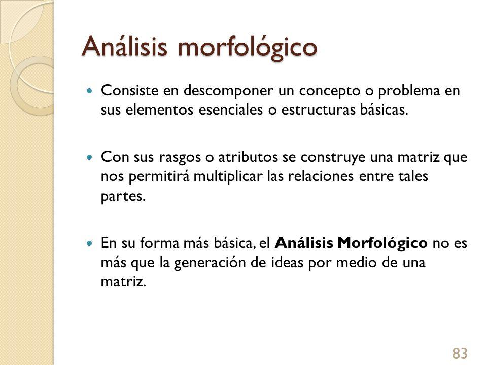 Análisis morfológico Consiste en descomponer un concepto o problema en sus elementos esenciales o estructuras básicas. Con sus rasgos o atributos se c