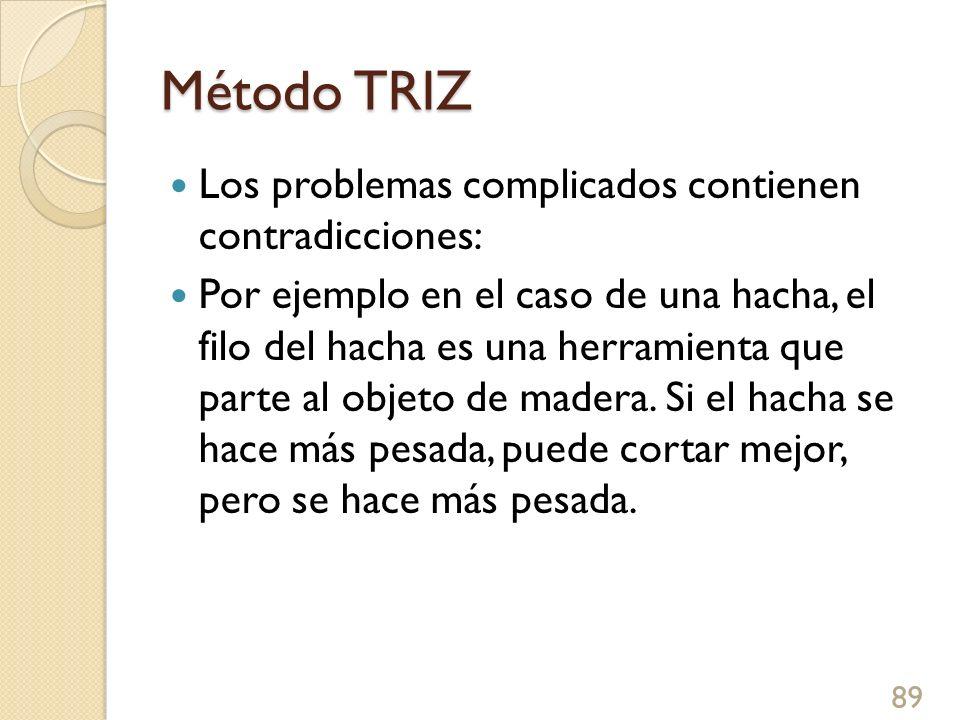 Método TRIZ Los problemas complicados contienen contradicciones: Por ejemplo en el caso de una hacha, el filo del hacha es una herramienta que parte a