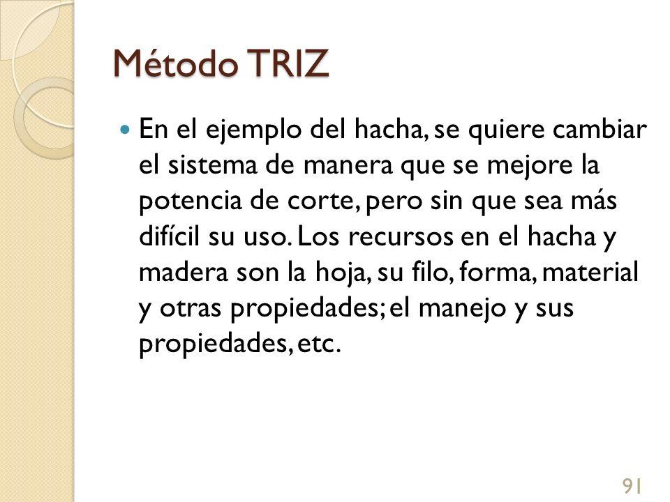 Método TRIZ En el ejemplo del hacha, se quiere cambiar el sistema de manera que se mejore la potencia de corte, pero sin que sea más difícil su uso. L