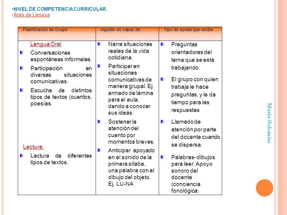 María Salomón NIVEL DE COMPETENCIA CURRICULAR. Área de Lengua Planificación de GrupoAgustín es capaz de:Tipo de ayuda que recibe Lengua Oral Conversac