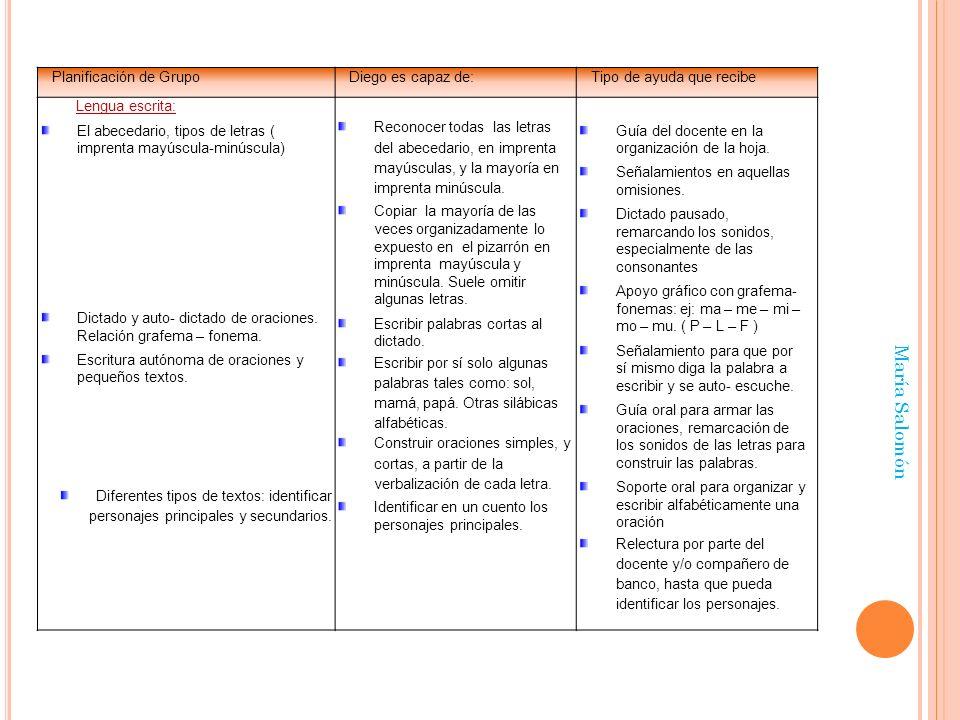 María Salomón Planificación de GrupoDiego es capaz de:Tipo de ayuda que recibe Lengua escrita: El abecedario, tipos de letras ( imprenta mayúscula-min