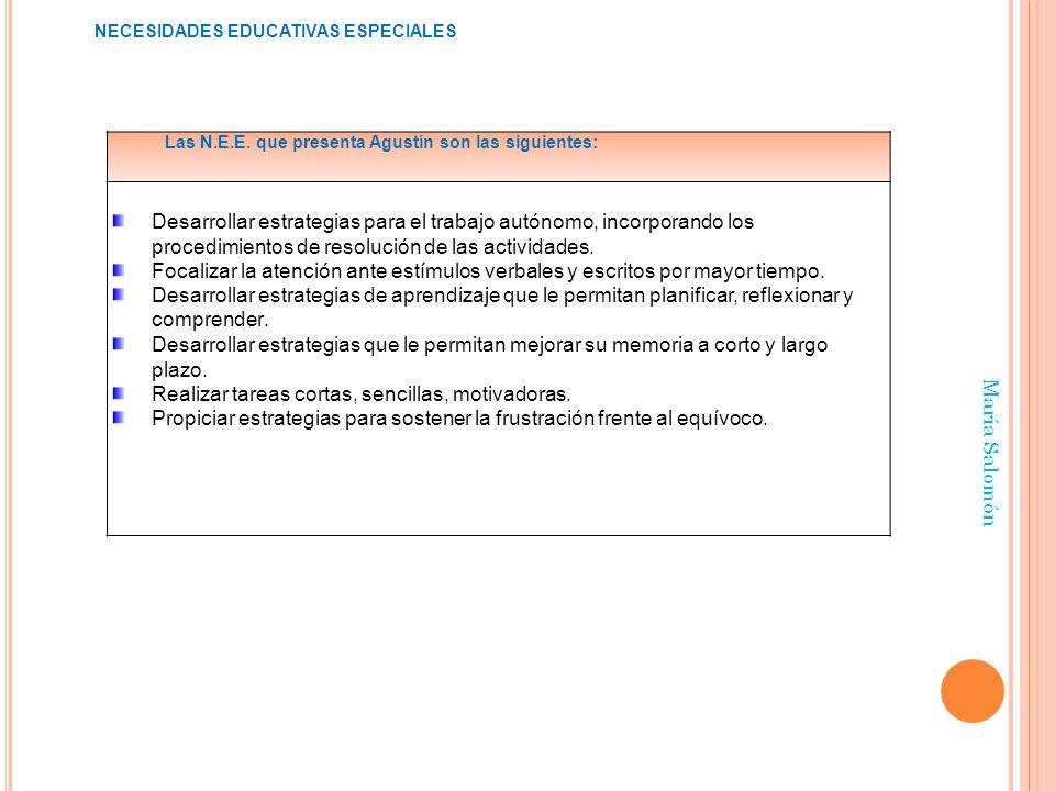 María Salomón Las N.E.E. que presenta Agustín son las siguientes: Desarrollar estrategias para el trabajo autónomo, incorporando los procedimientos de