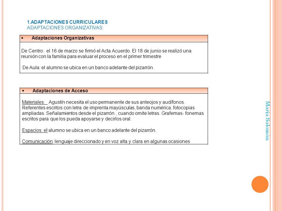 María Salomón Adaptaciones Organizativas De Centro: el 16 de marzo se firmó el Acta Acuerdo. El 18 de junio se realizó una reunión con la familia para
