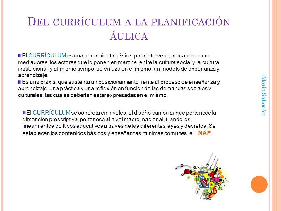 D EL CURRÍCULUM A LA PLANIFICACIÓN ÁULICA -María Salomón El CURRÍCULUM es una herramienta básica para intervenir, actuando como mediadores, los actores que lo ponen en marcha, entre la cultura social y la cultura institucional; y al mismo tiempo, se enlaza en el mismo, un modelo de enseñanza y aprendizaje.