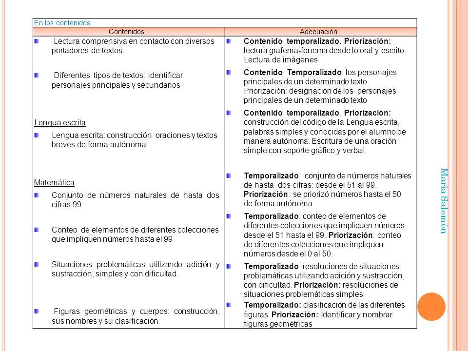 María Salomón En los contenidos: ContenidosAdecuación Lectura comprensiva en contacto con diversos portadores de textos. Diferentes tipos de textos: i