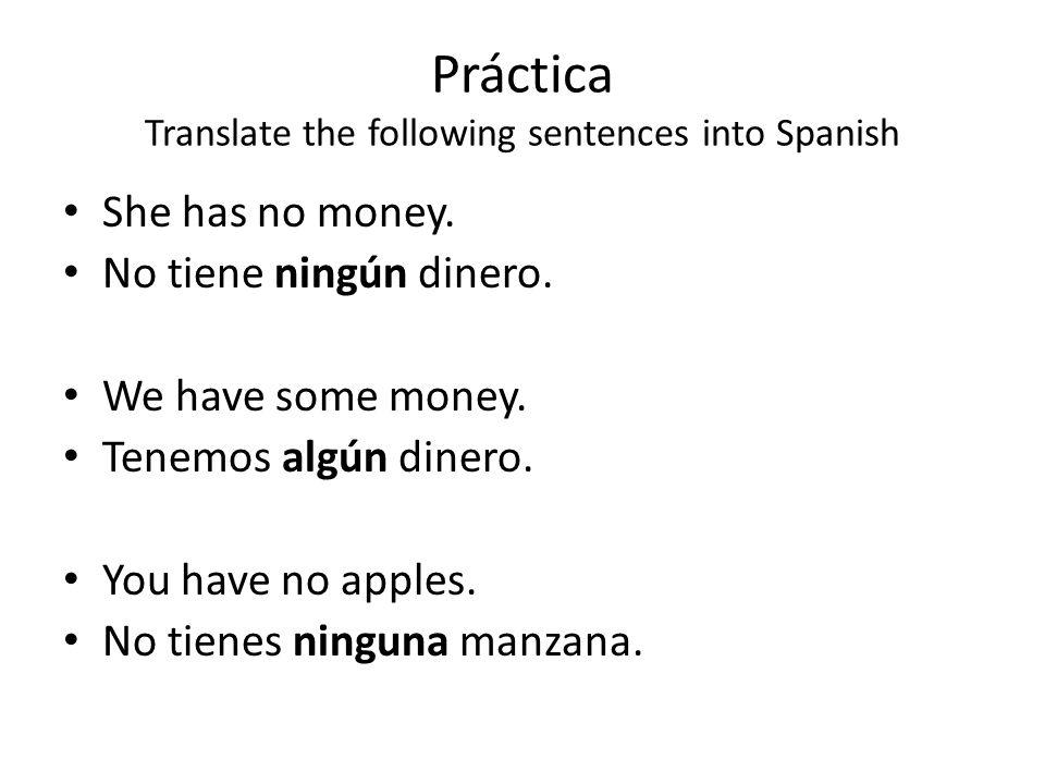 Práctica Translate the following sentences into Spanish She has no money. No tiene ningún dinero. We have some money. Tenemos algún dinero. You have n