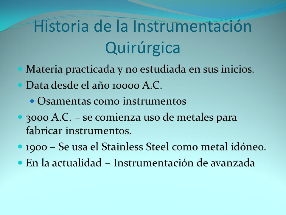 Historia de la Instrumentación Quirúrgica Materia practicada y no estudiada en sus inicios. Data desde el año 10000 A.C. Osamentas como instrumentos 3