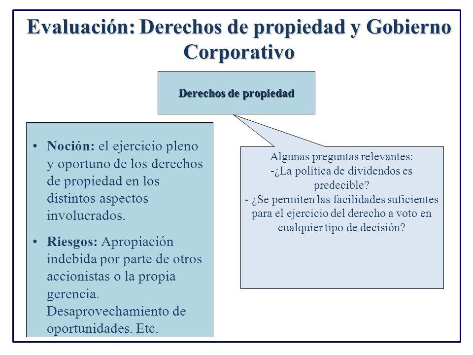 Evaluación: Derechos de propiedad y Gobierno Corporativo Noción: el ejercicio pleno y oportuno de los derechos de propiedad en los distintos aspectos involucrados.