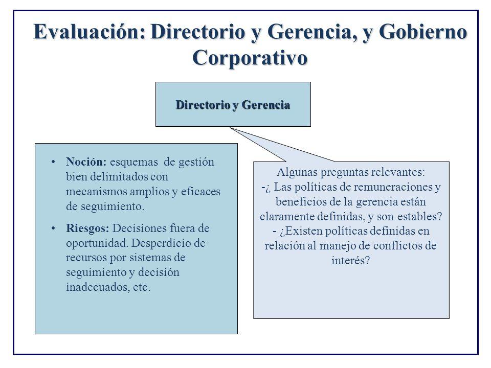 Evaluación: Directorio y Gerencia, y Gobierno Corporativo Directorio y Gerencia Noción: esquemas de gestión bien delimitados con mecanismos amplios y eficaces de seguimiento.