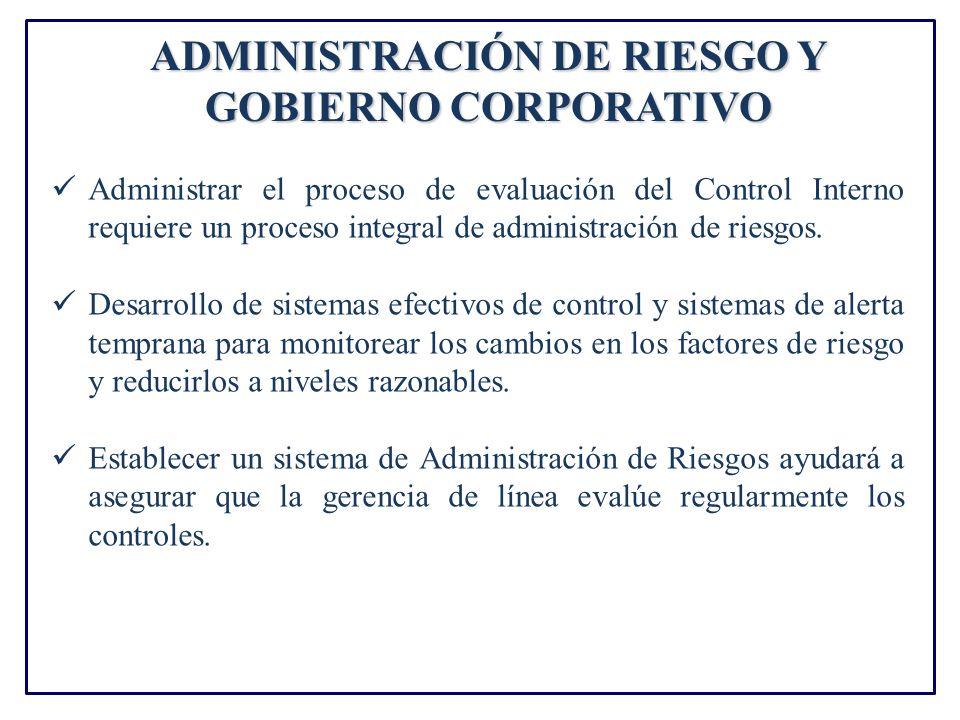 ADMINISTRACIÓN DE RIESGO Y GOBIERNO CORPORATIVO Administrar el proceso de evaluación del Control Interno requiere un proceso integral de administración de riesgos.