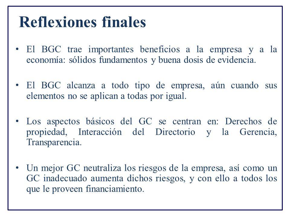 Reflexiones finales El BGC trae importantes beneficios a la empresa y a la economía: sólidos fundamentos y buena dosis de evidencia. El BGC alcanza a