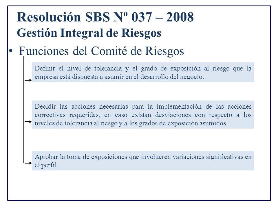 Resolución SBS Nº 037 – 2008 Gestión Integral de Riesgos Funciones del Comité de Riesgos Definir el nivel de tolerancia y el grado de exposición al riesgo que la empresa está dispuesta a asumir en el desarrollo del negocio.