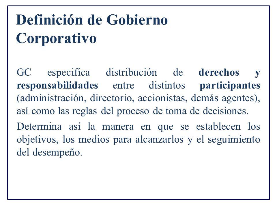 Definición de Gobierno Corporativo GC especifica distribución de derechos y responsabilidades entre distintos participantes (administración, directorio, accionistas, demás agentes), así como las reglas del proceso de toma de decisiones.