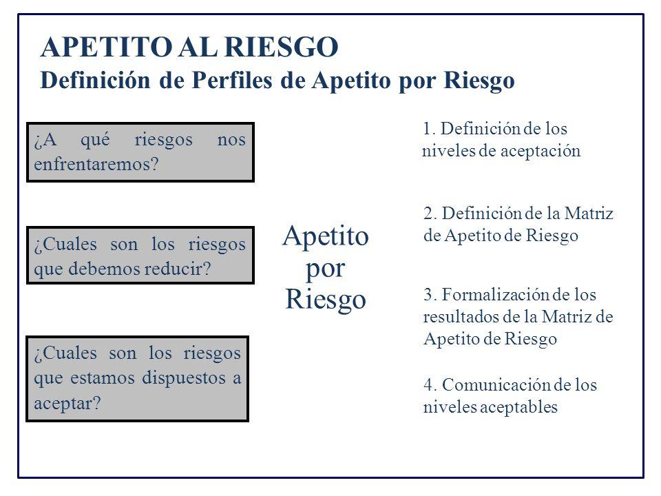 APETITO AL RIESGO Definición de Perfiles de Apetito por Riesgo Apetito por Riesgo ¿A qué riesgos nos enfrentaremos.