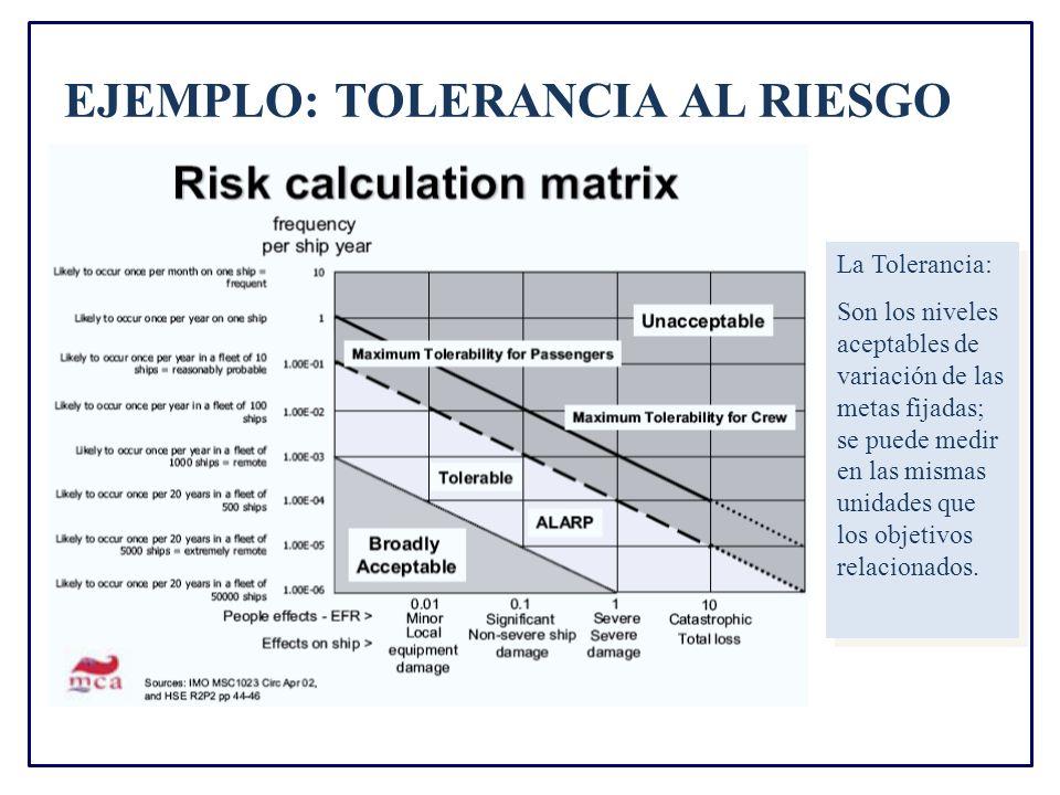 EJEMPLO: TOLERANCIA AL RIESGO La Tolerancia: Son los niveles aceptables de variación de las metas fijadas; se puede medir en las mismas unidades que los objetivos relacionados.