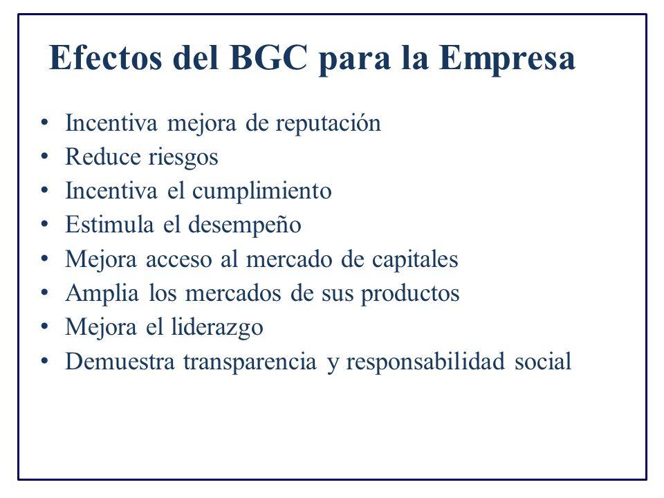 Efectos del BGC para la Empresa Incentiva mejora de reputación Reduce riesgos Incentiva el cumplimiento Estimula el desempeño Mejora acceso al mercado de capitales Amplia los mercados de sus productos Mejora el liderazgo Demuestra transparencia y responsabilidad social