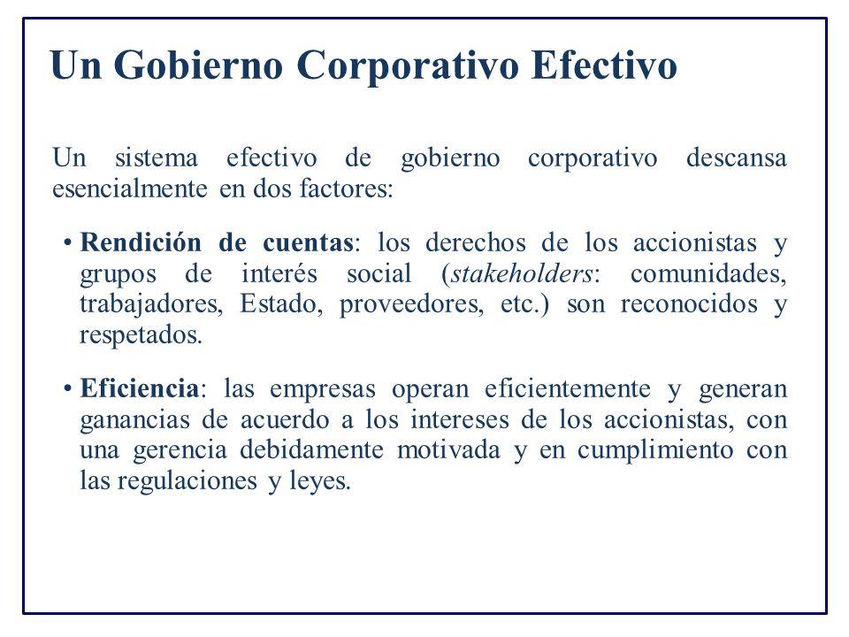 Un Gobierno Corporativo Efectivo Un sistema efectivo de gobierno corporativo descansa esencialmente en dos factores: Rendición de cuentas: los derecho