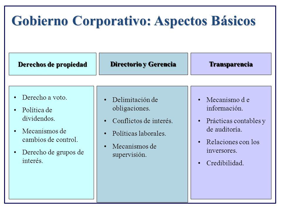 Gobierno Corporativo: Aspectos Básicos Transparencia Directorio y Gerencia Derecho a voto. Política de dividendos. Mecanismos de cambios de control. D