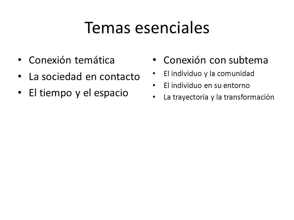 Temas esenciales Conexión temática La sociedad en contacto El tiempo y el espacio Conexión con subtema El individuo y la comunidad El individuo en su entorno La trayectoria y la transformación