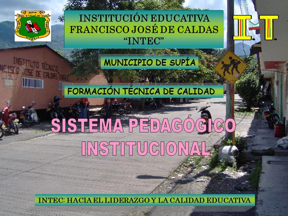 INSTITUCIÓN EDUCATIVA FRANCISCO JOSÉ DE CALDAS INTEC MUNICIPIO DE SUPÍA FORMACIÓN TÉCNICA DE CALIDAD INTEC: HACIA EL LIDERAZGO Y LA CALIDAD EDUCATIVA