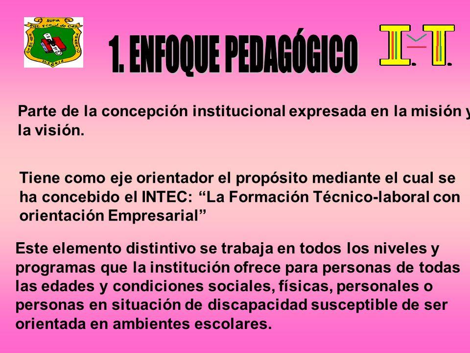 Parte de la concepción institucional expresada en la misión y la visión. Tiene como eje orientador el propósito mediante el cual se ha concebido el IN