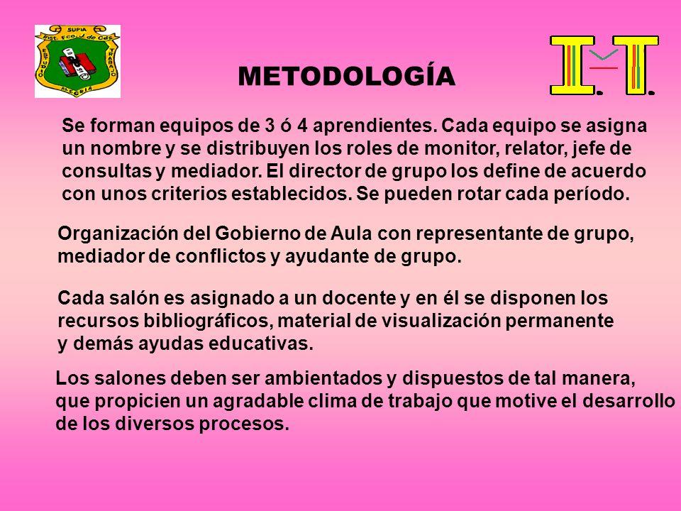 METODOLOGÍA Se forman equipos de 3 ó 4 aprendientes. Cada equipo se asigna un nombre y se distribuyen los roles de monitor, relator, jefe de consultas