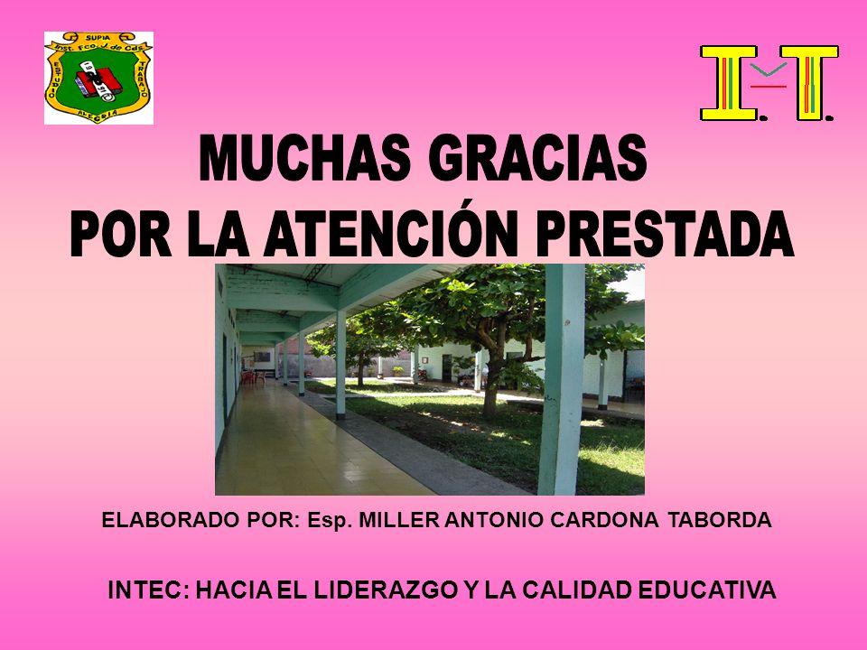 INTEC: HACIA EL LIDERAZGO Y LA CALIDAD EDUCATIVA ELABORADO POR: Esp. MILLER ANTONIO CARDONA TABORDA