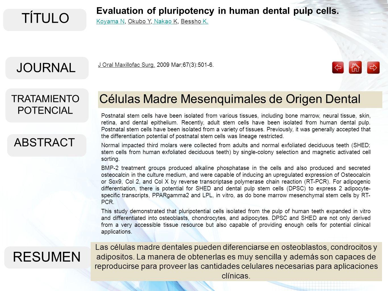 TÍTULO ABSTRACT RESUMEN Las células madre dentales pueden diferenciarse en osteoblastos, condrocitos y adipositos. La manera de obtenerlas es muy senc