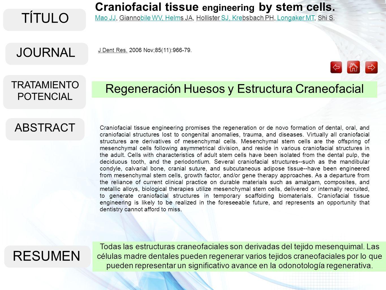 TÍTULO ABSTRACT RESUMEN Todas las estructuras craneofaciales son derivadas del tejido mesenquimal. Las células madre dentales pueden regenerar varios