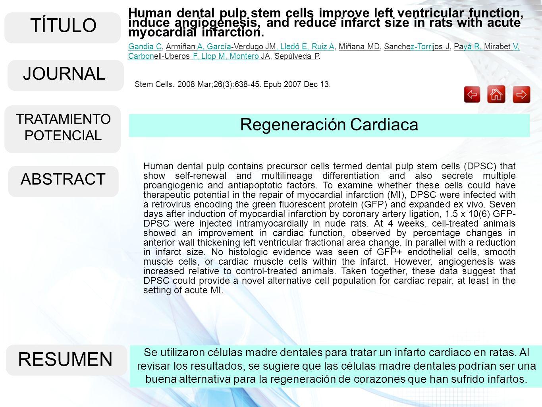 TÍTULO ABSTRACT RESUMEN Se utilizaron células madre dentales para tratar un infarto cardiaco en ratas. Al revisar los resultados, se sugiere que las c