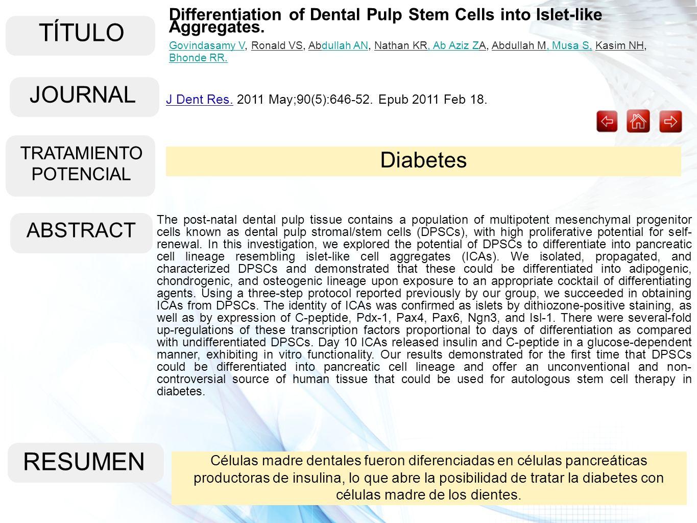 TÍTULO ABSTRACT RESUMEN Células madre dentales fueron diferenciadas en células pancreáticas productoras de insulina, lo que abre la posibilidad de tra