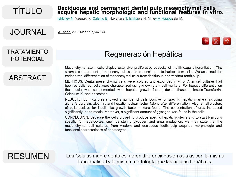 TÍTULO ABSTRACT RESUMEN Las Células madre dentales fueron diferenciadas en células con la misma funcionalidad y la misma morfología que las células he