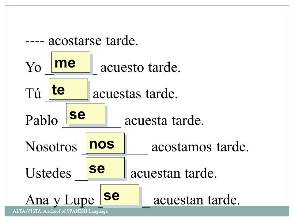 Fill in the blank with the correct reflexive pronoun: ______ acuesto y ________ duermo inmediatemente.