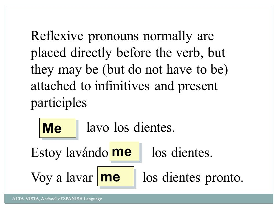 Reflexive pronouns normally are placed directly before the verb, but they may be (but do not have to be) attached to infinitives and present participles lavo los dientes.