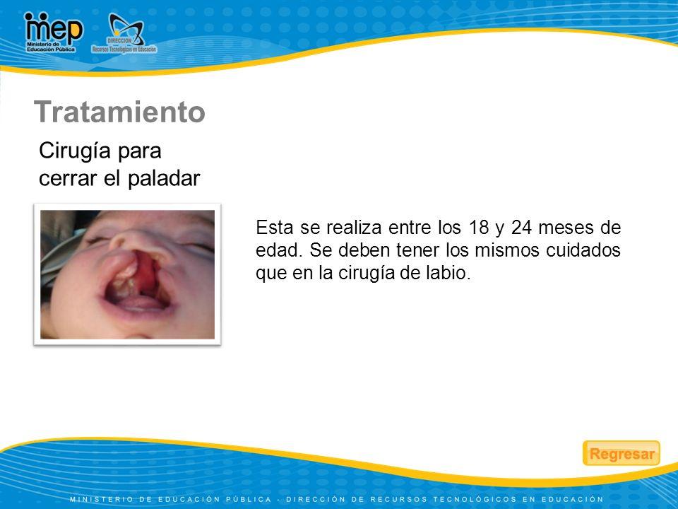 Esta se realiza entre los 18 y 24 meses de edad. Se deben tener los mismos cuidados que en la cirugía de labio. Cirugía para cerrar el paladar Tratami